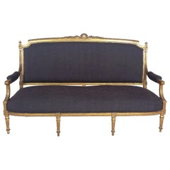 Mid-19th Century French Carved Giltwood Sofa