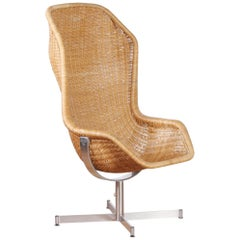 1960s, Swivel Rattan Chair by Dirk Van Sliedregt for Gebroeders Jonkers
