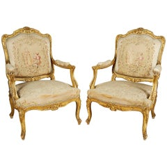 Pair of 19th Century Gilded Fauteuils.