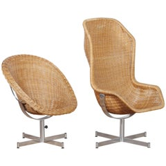 1960s, Set of Rattan Swivel Chairs by Dirk Van Sliedregt for Gebroeders Jonkers