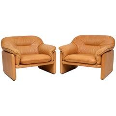 1960s Pair of De Sede DS16 Vintage Leather Armchairs