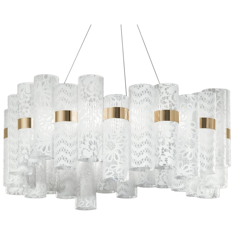 SLAMP La Lollo Large Pendant Light in White Lace by Lorenza Bozzoli