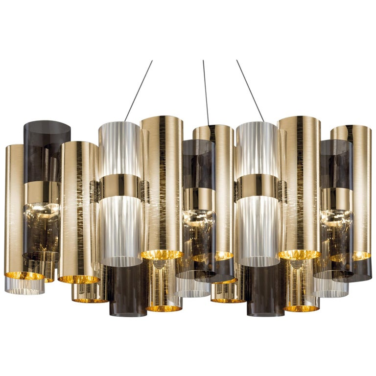 SLAMP La Lollo Large Pendant Light in Gold & Fumé by Lorenza Bozzoli