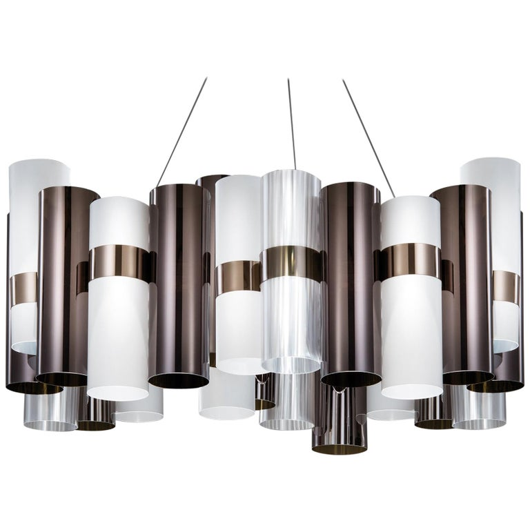SLAMP La Lollo Large Pendant Light in Pewter & White by Lorenza Bozzoli