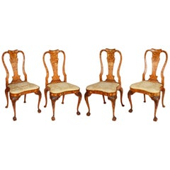 Set of Four 18th Century Dutch Marquetry Side Chairs