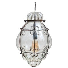 Venetian Caged Lantern in Clear Glass, Italy, 1980s