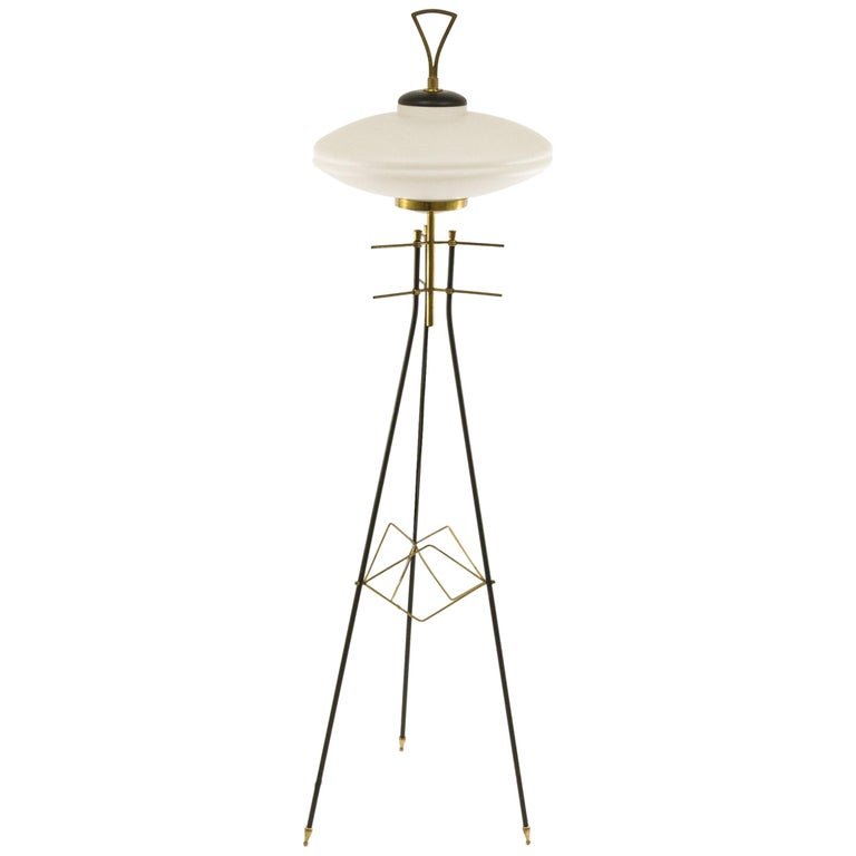 Italian Brass and Opaline Glass Tripod Floor Lamp, 1950s