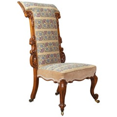 Prie Dieu Chair, Early Victorian, Walnut Needlepoint Tapestry Seat, circa 1840