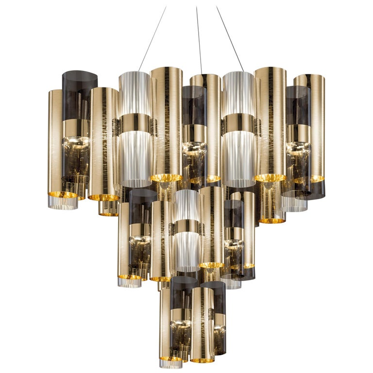 SLAMP La Lollo Extra Large Pendant Light in Gold & Fumé by Lorenza Bozzoli