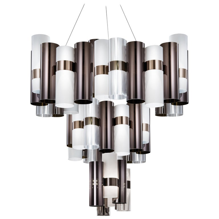 SLAMP La Lollo Extra Large Pendant Light in Pewter & White by Lorenza Bozzoli