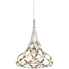 SLAMP Super Morgana Pendant Light in Gold & White by Stefano Papi