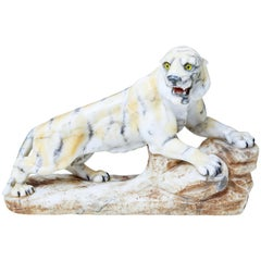Early 20th Century Alabaster Tiger Mantle Decoration