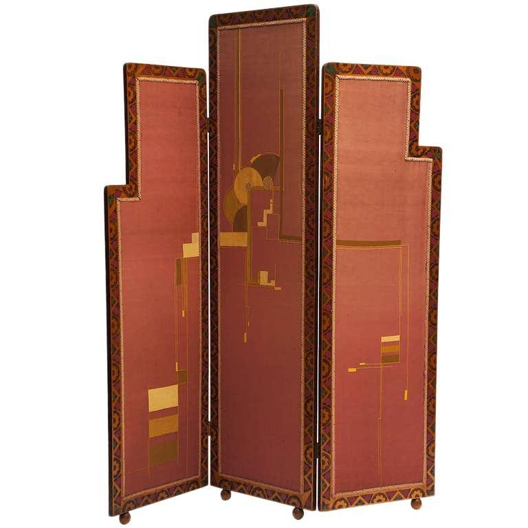 Art Deco Folding Screen For Sale