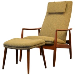Søren Ladefoged Teak Lounge Chair and Matching Ottoman