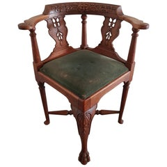 19th Century Dutch Oak Corner Chair with Carvings