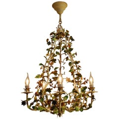 20th Century Painted Wrought Iron Flower Chandelier