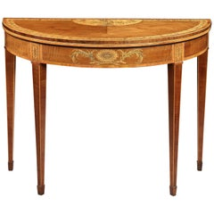 18th Century George III Marquetry Harewood Card Table