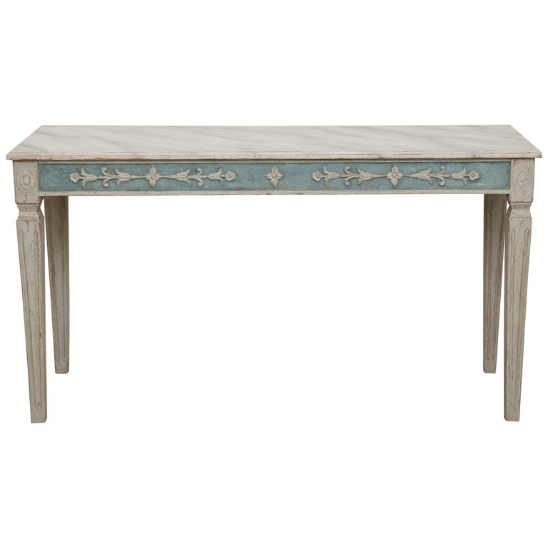 Antique Swedish Gustavian Style Painted Console Table, Late 19th Century
