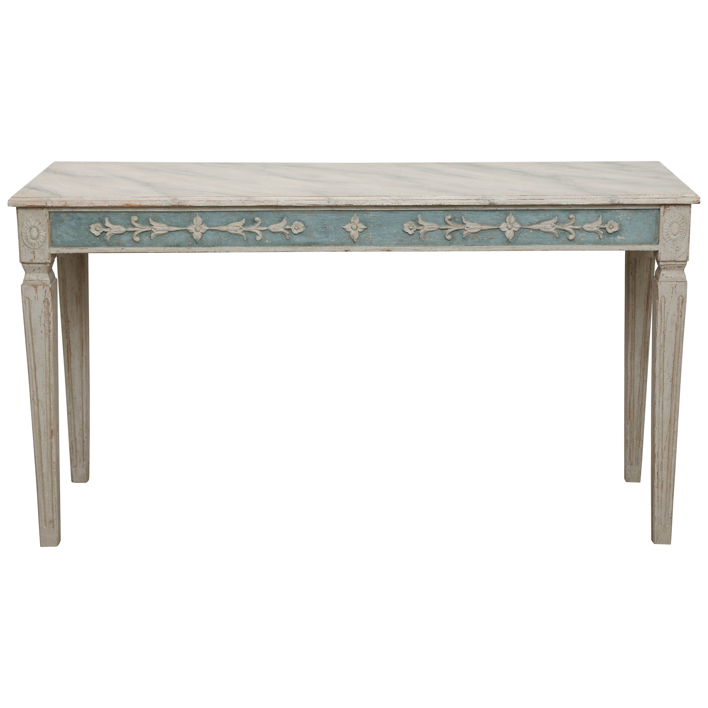 a2500ef09228f Antique Swedish Gustavian Style Painted Console Table