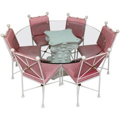 Indoor Vintage Glass Table and Painted Iron Metal Chairs, Late 19th Century