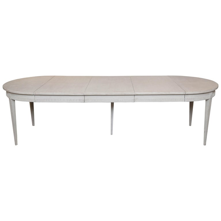 Antique Swedish Gustavian Style Large Painted Dining Table, Late 19th Century