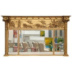 Antique Swedish Neoclassic Giltwood Mirror, Mid-19th Century