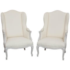Pair of Antique Swedish Rococo Style Wingback Chairs, Early 20th Century