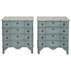 Pair of Antique Swedish Baroque Style Blue Painted Chests, Mid-19th Century