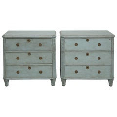 Pair of Swedish Gustavian Style Painted Blue Chests/Commodes Late 19th Century