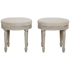 Pair of Antique Swedish Gustavian Style Painted Round Stools, Late 19th Century