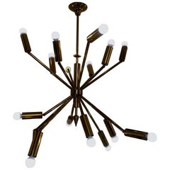Stunning Chandelier with 16 Adjustable Brass Arms, Italy, 1950s