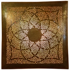 Intricate Moroccan Copper Wall Sconce, Large Square