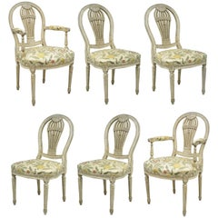 Louis XVI French Style Hot Air Balloon Back Montgolfier Dining Chair, Set of Six