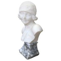 Italian Art Deco Alabaster Girl Figure Bust Signed Guerrieri, 1920 circa