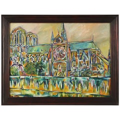 Painting of Notre-Dame Cathedral Paris, Attributed to Roland David