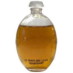 1922 Rene Lalique Le Temps Des Lilas Perfume Bottle for Houbigant Clear Glass