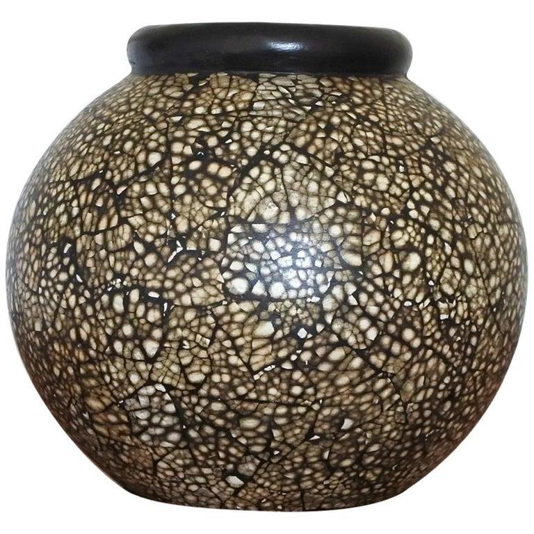 Jacques Adnet Signed Ceramic and Eggshell Vase, France, 1930s