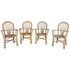 1980s Set of Four Spanish Bamboo and Wood Chairs