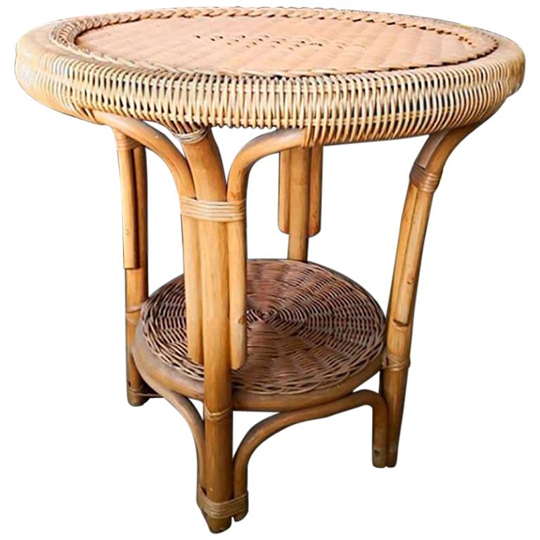 1980s Spanish Round Wicker and Wood Side Table