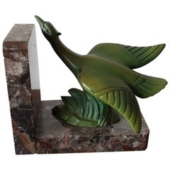 Early 20th Century, French Art Deco Bookend with a Bird on Grey Marble