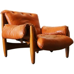 Original Sheriff Lounge Chair by Sergio Rodrigues ISA Italy 1962 Cognac Leather