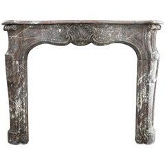 Antique Marble Fireplace, Louis XV, Rouge de France, 19th Century
