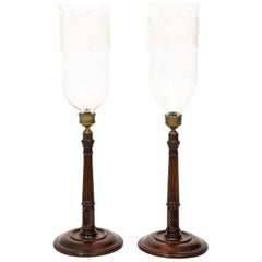 Pair of Mahogany Hurricane Candlesticks