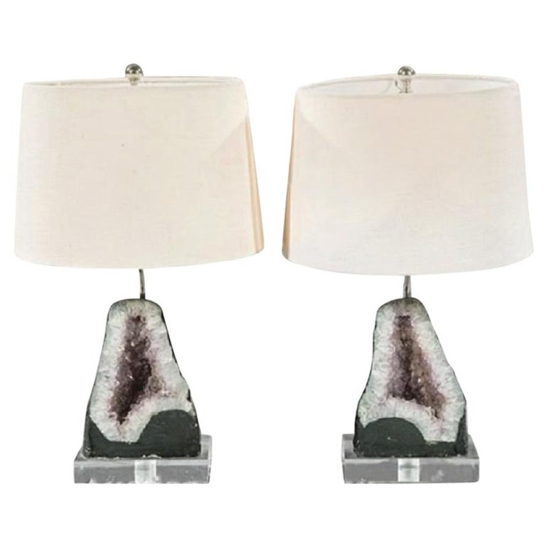 Pair of Amethyst Geode Table Lamps For Sale