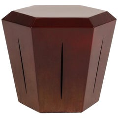 Hedra 14s, Steel Accent Table in Deep Red Patina by Topher Gent