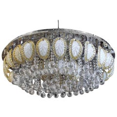 1960s Large Flush Mount Ballroom Chandelier with Glass Leaves a Faceted Crystals