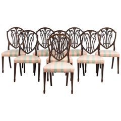Set of Eight Hepplewhite Design Mahogany Framed Chairs