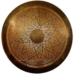 Intricate Moroccan Copper Wall Sconce, Large Circular