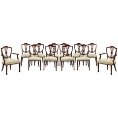 Set of 12 Hepplewhite Style Mahogany Dining Chairs