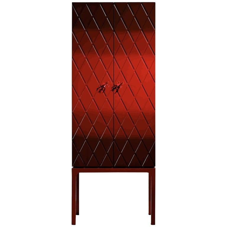 Palace Contemporary Bar Cabinet, Two Doors and Interior Lighting, Luisa Peixoto